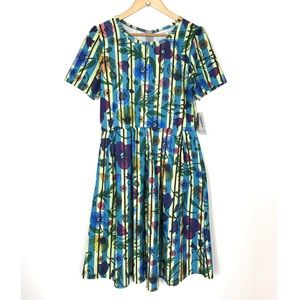 Lularoe Amelia Blue Floral Striped Dress XL NEW
